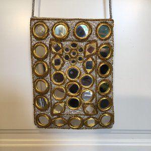 Mirror decorated shoulder or crossbody bag